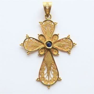 Stunning 18ct Gold Sapphire Pendant Cross - Beautiful Intricate Workmanship